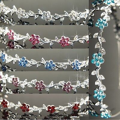 Bridesmaid Prom Flower Girl Crystal Flower Headband Tiara Gift T055  7 choice
