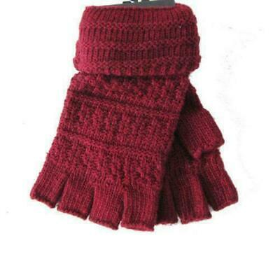 Unisex Winter Warm Knitted Wool Open Fingers Gloves with Flip Top Cover Burgundy