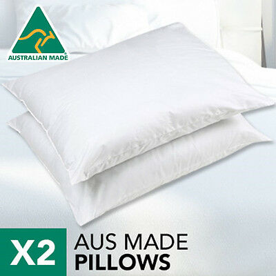 Altern to Feather/Latex/Memory-Aus Made Twin Pack Polyester Pillow+Cotton Cover