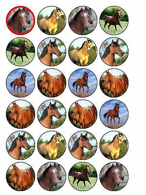 """24 x Horses Mix 1.5"""" PRE-CUT PREMIUM RICE PAPER Edible Cup Cake Toppers"""