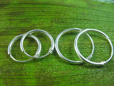 925 sterling silver small 12mm 14mm plain round SLEEPERS hoops earrings - UNISEX