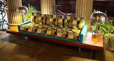 Reupholstered Pearsall Attributed Platform Sofa with Floral Cushions. #7122