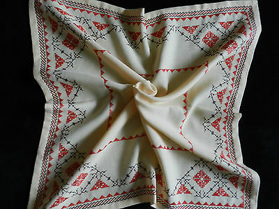 """vintage tablecloth hand embroidered. Dimensions 26.5""""/26.2""""  n3339"""