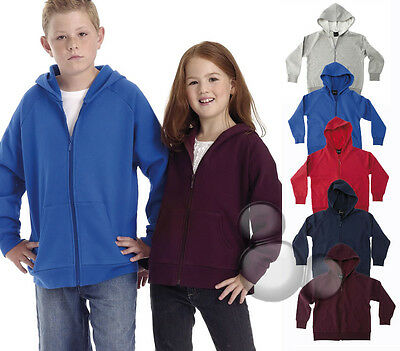 Kids Zip  Hoodie Size 6 8 10 12 14 School Jumper  Grey Navy Red Royal Maroon New