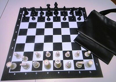 Black Tournament Chess Set Triple Weighted Pieces Board Bag