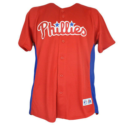 f1264b969 MLB Majestic Philadelphia Phillies Youth Boys Button Up Authentic Jersey