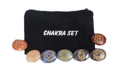 Oval Engraved Chakra Stones Sets 7 Gemstone Reiki Crystal Therapy Massage A+ Wow