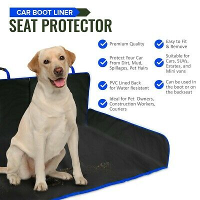 Blue 2 In 1 Waterproof Car Rear Back Seat Cover Pet Dog Protector Boot Liner