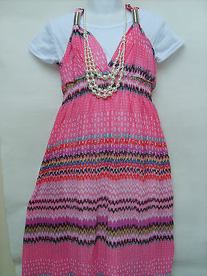 Girls Gorgeous Party Outfit Occasion Long Maxi Dress & Chain (SC39)