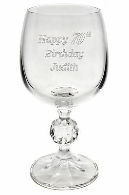 Personalised Engraved Bohemia Crystal Wine Glass 70th 80th 90th Birthday Gift