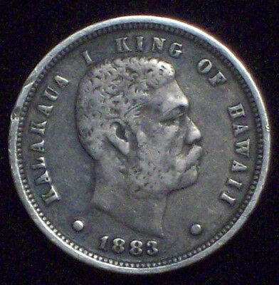 1883 RARE Kingdom of HAWAII Dime Strong VF+ to XF BEAUTIFUL TONE Authentic Coin