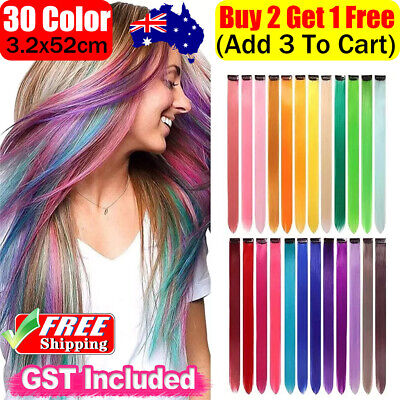 Clip On In Colorful Hair Extension Coloured Synthetic long Hair Party Highlights
