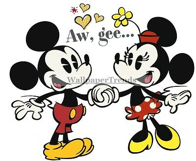 Classic Mickey and Minnie Mouse Vintage Disney Vinyl Wall Decal Sticker Decor