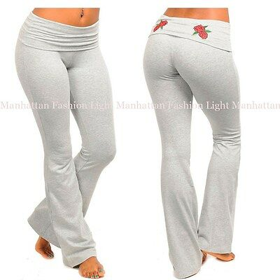 -Gray w/Embroidered Roses -S,M,L Stretchy,Cotton,Fitness Yoga Foldover Pants