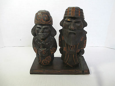 Vintage Unknown Pair of Asian Wood Carved Statues SIGNED on Stand w Sword