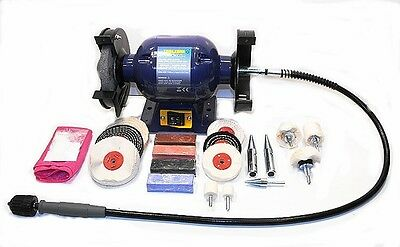 370W Bench Grinder, Metal Grinding and Polishing Kit With Flexible Drive Shaft