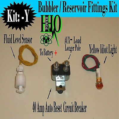 12v Tank Float Switch, Yellow Idiot Light, 40a  Auto Reset Breaker, HHO,Dry Cell
