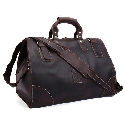 vintage Top real Leather men women Travel Luggage Baggage Duffle Gym Bags Tote