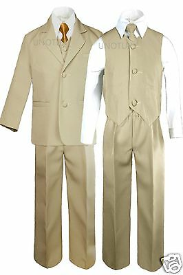 Boy Baby Toddler Formal Wedding Party Khaki Stone Suit Tuxedo + Gold Tie sz S-4T