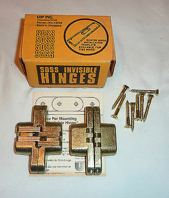 SOSS #208 Pair of Invisible Hinges All Brass STAINLESS STEEL NEW in Box!