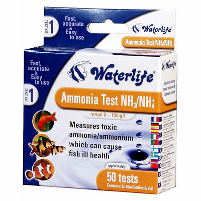 Waterlife Ammonia Fish Tank Water Test Kit Nh4 50 Tests 110