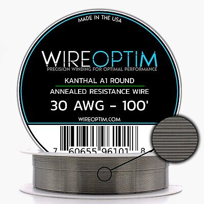 Kanthal 30 Gauge AWG A1 Wire 100ft Roll .254mm , 8.36 Ohms/ft Resistance