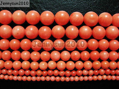 Natural Coral Gemstone Round Beads Orange 16'' 3mm 4mm 5mm 6mm 7mm 8mm 9mm