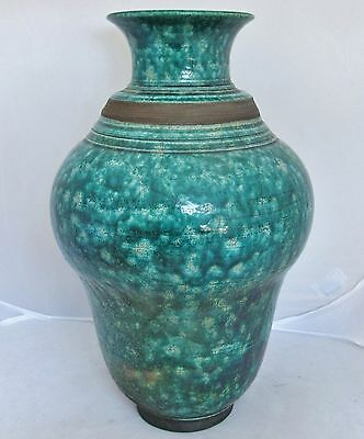 """Antique ? Japanese Pottery Vase with Teal Green Flambe Crackle Glaze  (14.1"""")"""