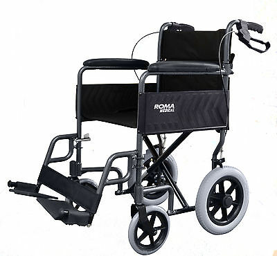 RMA Roma 1235 Lightweight folding Transit Attendant wheelchair with handbrakes