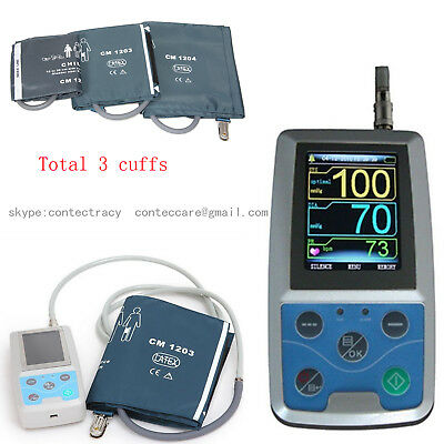 NEW 24 hours handhold Ambulatory Blood Pressure Monitoring NIBP+3 scuffs,colour