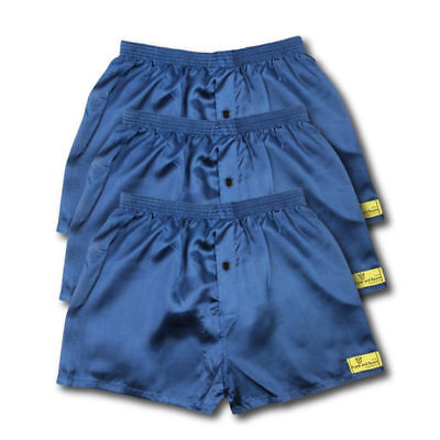 3 Pack Satin Boxer Shorts Navy Black Grey All Sizes Available S M L Xl Xxl S
