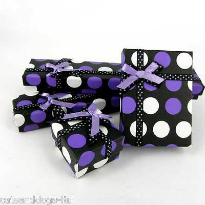 3 x Jewellery Display Gift Party Box Purple Spot Choose Pendant Ring Necklace