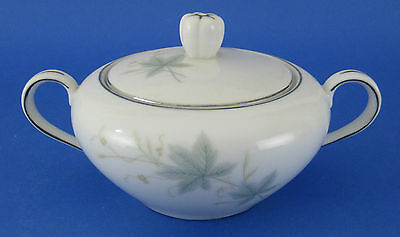 Japan China Lynbrook Covered Sugar Bowl w Lid Gray Leaves Berries VINTAGE