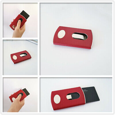 Business Card Holder Case Cover Leather Magnetic Open Man Woman Fashion Gift C3