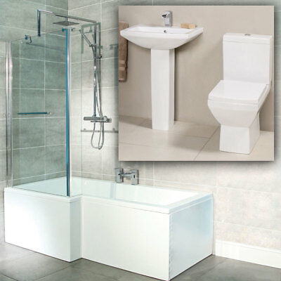 Modern White Toilet Basin L Shape Shower Bath Tub & Screen Suite