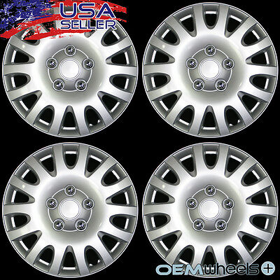 """4 New Oem Silver 14"""" Hub Caps Fits Volkswagen Vw Car Abs Center Wheel Covers Set"""