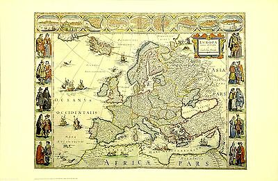 Europe UK England 16th Century Vintage Map OOP NYC Public Library Ltd Edition
