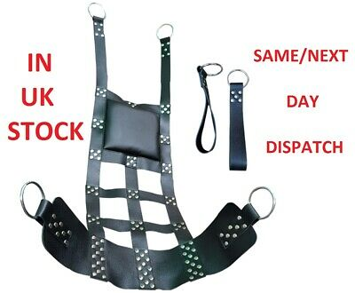Real Leather Heavy Adult Sex Sling/Swing with Stirrups Mountable & Suspendable