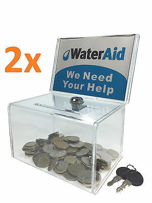 2x Acrylic Donation Box Ballot Box Suggestion Box