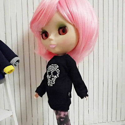 Blythe Doll Outfit top long t-shirt skull black