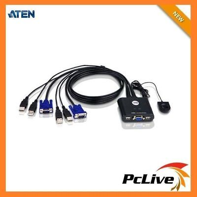 Aten Petite 2 Port USB VGA KVM Switch CS-22U with Remote Port Selector & cable