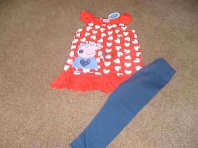 BNWT Peppa Pig pretty white heart print leggings and top set outfit