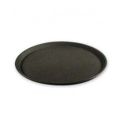 Bar / Drinks Tray, Plastic Non-Slip Serving Tray, Black, Round, 350mm NEW