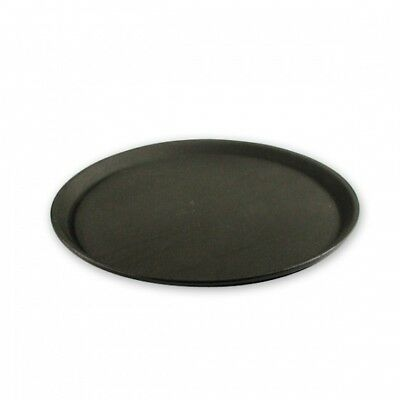 6x Non-Slip Tray Black Plastic Round 350mm Bar Glass Drink Serving Waiters NEW