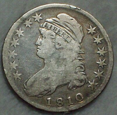 1810 BUST HALF DOLLAR *SILVER* O-105 *RARE* VF DETAILS Authentic Colonial Coin