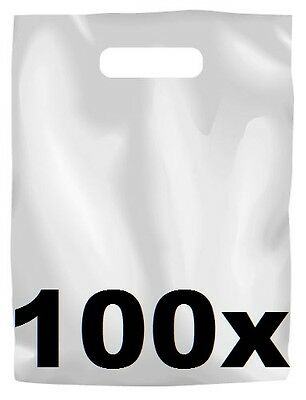 100 x WHITE PLASTIC CARRY BAGS with die cut HANDLE - medium size - 250 x 380mm
