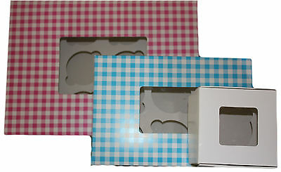 Cupcake Boxes, Clear Window, 1,6,12 Cakes With Removable Insert White Blue Pink