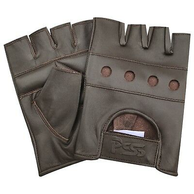 Brown fingerless biker punk gothic real leather bus car driving cycling gloves