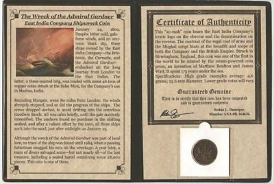 Admiral Gardner Shipwreck Coin East India. Certified Authentic.