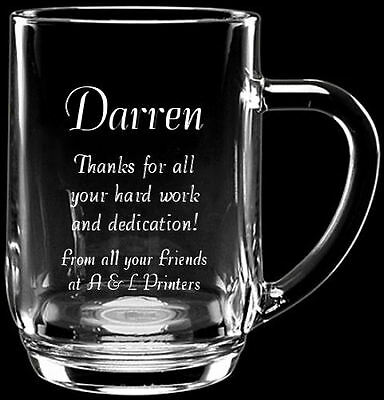 Personalised Engraved Glass Tankard Retirement Gift In Blue Gift Box LH